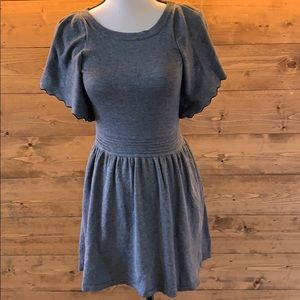 Ella Moss 12 Gray Flutter Sleeve Mini Dress